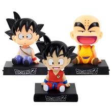 Bobble Head Dragon Ball Action Son Goku Figure Krillin Shake Head Phone Holder Bracket Car Decoration Anime Model PVC Toys Gifts