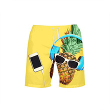 VEEVAN Men's Beach Shorts Crazy Music Fruit Pineapple 3D Printing Casual Surfing