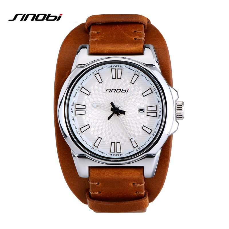 SINOBI Sports Men Wrist Watches Luxury Brand Leather Watchband Males Casual Military Waterproof Quartz Clock Horloges Mannen L73 sinobi sports chronograph men s wrist watches digital and quartz boys military diving watchband top luxury brand male clock 2016