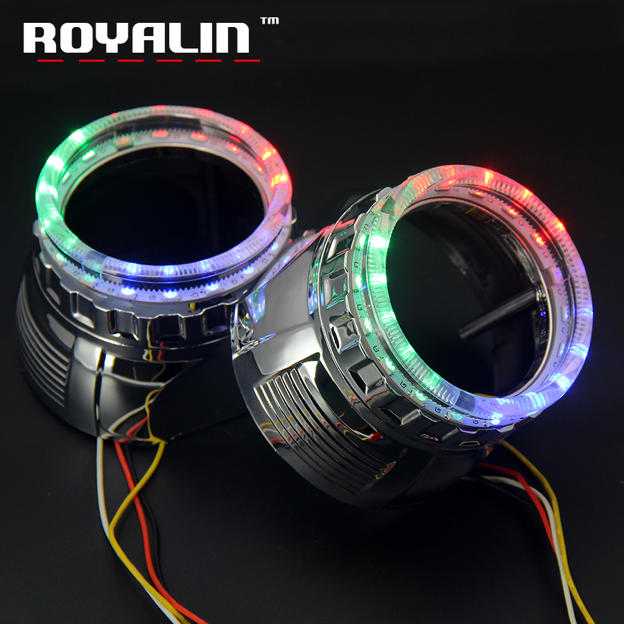 ROYALIN Car LED DRL RGB Angel Eyes Turn Signal Lights Shrouds For Mini 2.5 H1 Projector Headlight Lens Daytime Running Lights new led daytime running lights drl with halo ring angel eyes for mini cooper rally driving lights front bumper 6000k 1900lm auto