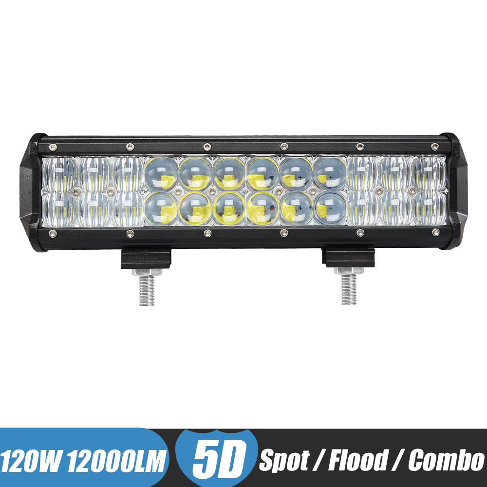 12 Inch 120W LED Light BAR Spot Flood Combo Off Road Work Light Driving Light Fog Lamp for JEEP Polaris Razor 4x4 ATV SUV UTV goodeck лампа светодиодная goodeck рефлекторная матовая gu10 5 5w 4100k gl1007024206
