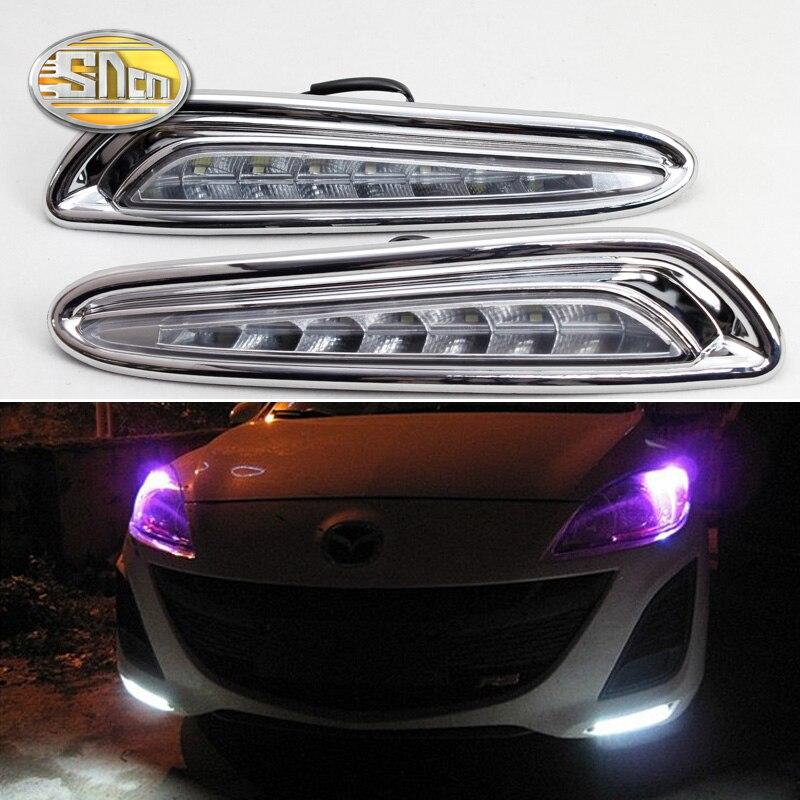 SNCN 2 STÜCKE LED Tagfahrlicht Für Mazda 3 2011 2012 2013 gelb Signal Funktionen Verchromte ABS 12 V Auto LED DRL Tageslicht