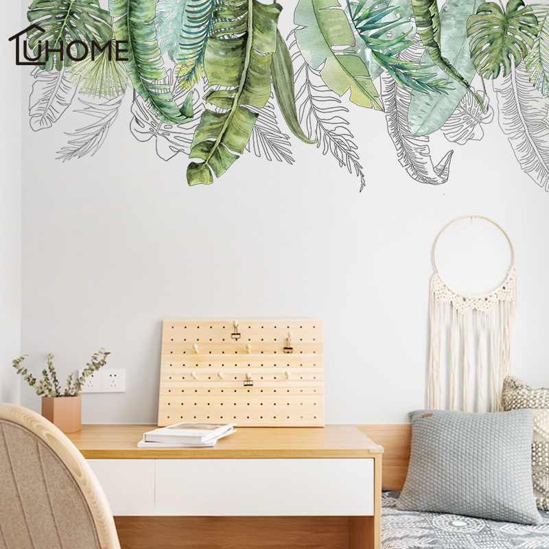 Nordic Style Green Tropical Leaves Wall Stickers For Living Room Bedroom Kitchen Room Decoration Mural Art Self-adhesive