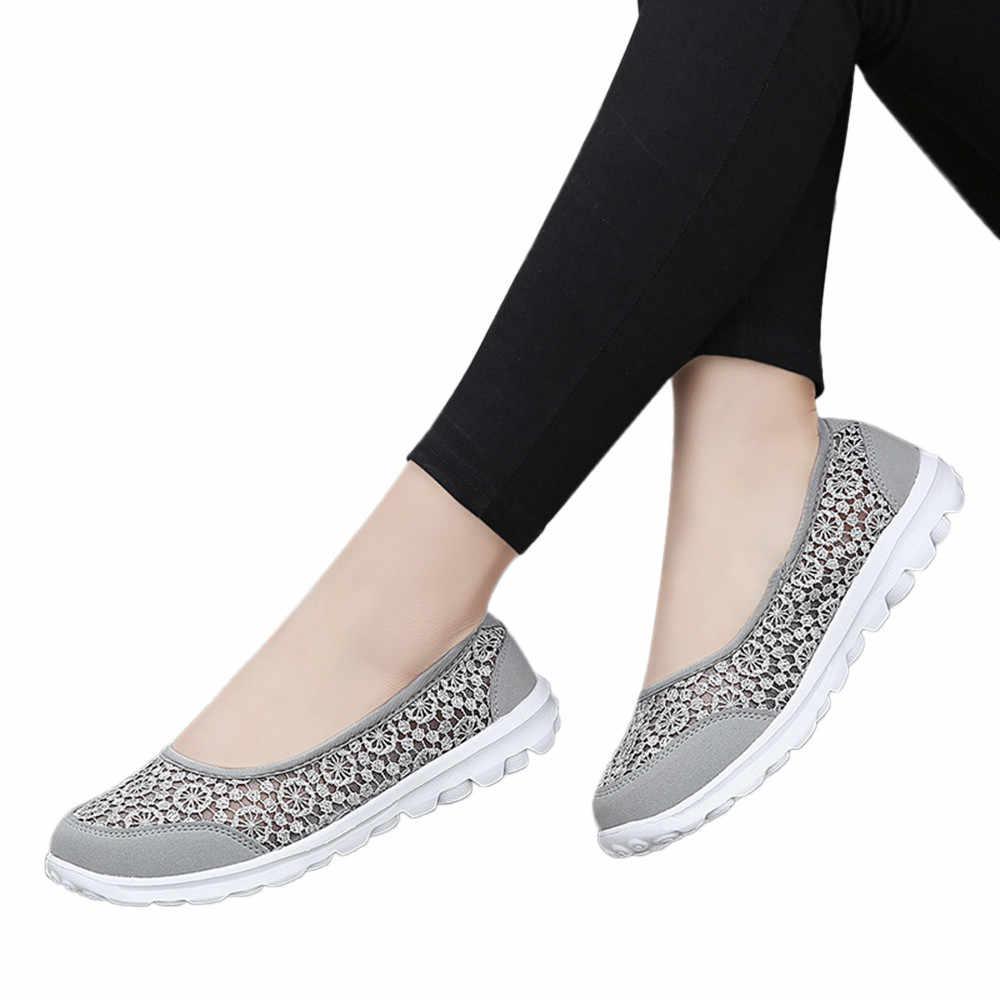 女性スニーカーソフト靴メッシュ生地レース靴ランニングシューズ快適な通気性ウォーキングドライビングシューズ # g2