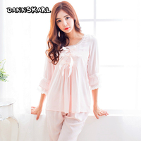 DANNSKARL Sexy Two Piece Women S Pajama Sets Cotton Smooth Woman Nightgowns Sleep Lounge Powder Sets