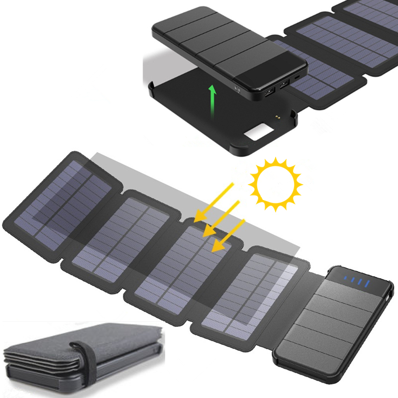 KERNUAP Solar panel 8W sunpower battery with power bank 20000mAh universal Portable Phone Charger can remove External Battery dual usb output universal thunder power bank portable external battery emergency charger 13000mah yb651 yoobao for electronics