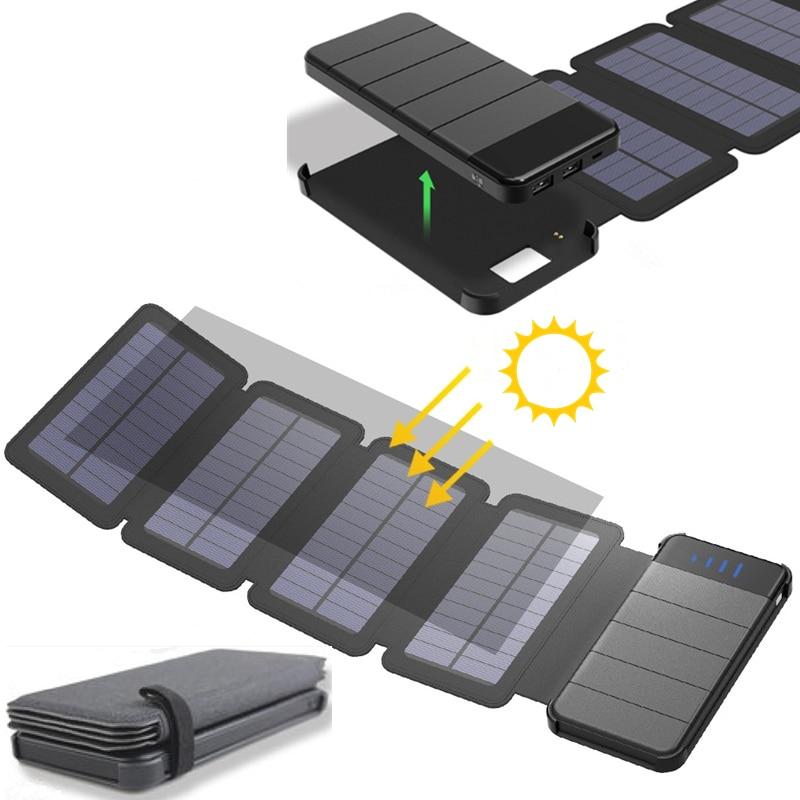 KERNUAP Solar panel 8W sunpower battery with power bank 20000mAh universal Portable Phone Charger can remove External Battery стоимость