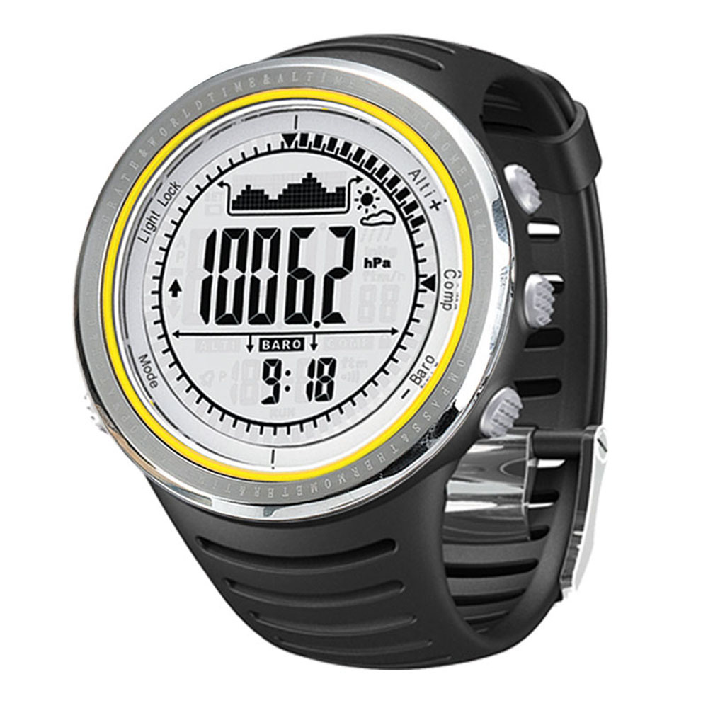 Camping 5ATM Waterproof Altimeter Compass Stopwatch Fishing Barometer Weather Pedometer Outdoor Multifunction Sport Watch FR802A