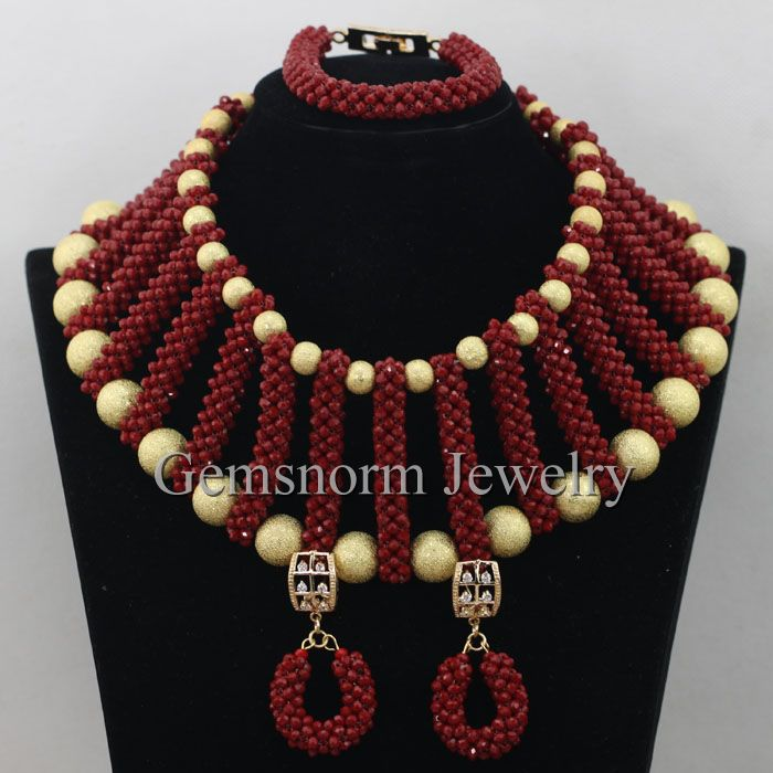 Red African Crystal Beads Jewelry Set Latest Design Nigerian Beads Jewelry Set  New Necklace Set Free Shipping WA061Red African Crystal Beads Jewelry Set Latest Design Nigerian Beads Jewelry Set  New Necklace Set Free Shipping WA061