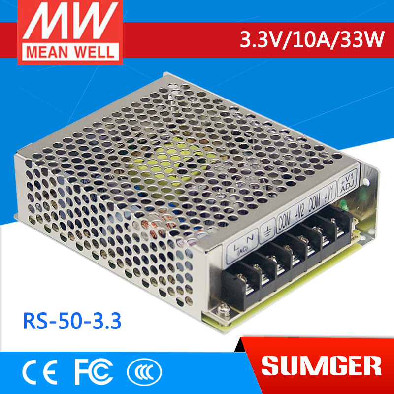 ФОТО [Freeshiping 2Pcs] MEAN WELL original RS-50-3.3 3.3V 10A meanwell RS-50 3.3V 33W Single Output Switching Power Supply