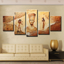 Hand painted canvas oil Paintings 5 Panels Abstract Decorative Wall Art Egyptian Pharaoh Picture For Living Room