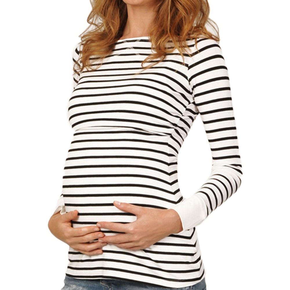 UK Oversize Womens Nursing Breastfeeding Tops Ladies Long Sleeve Maternity Shirt