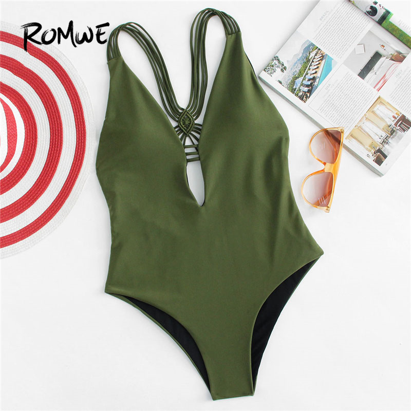 Romwe Plain Swimsuit Monokinis One-Pieces Army-Green Sport Women Bathing Summer Backless