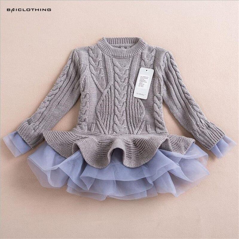 2017 New Autumn Baby Girls O-Neck Knitted Sweaters Children Woolen Yarn Tutu Dress Kids European an American Style Clothing