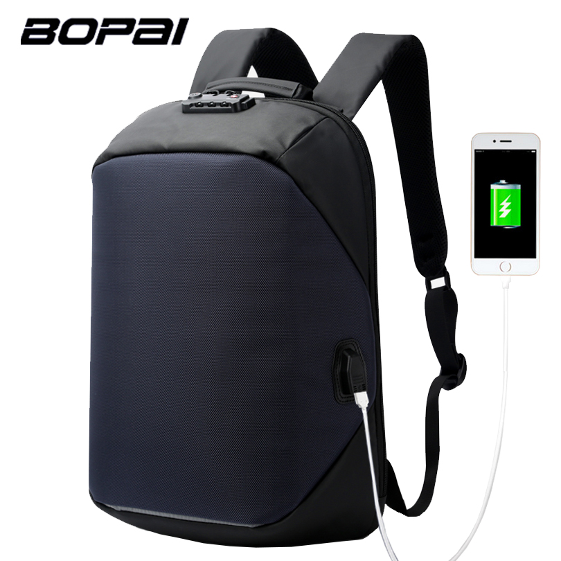 BOPAI Laptop Backpack External USB Charge Computer Coded Lock Backpacks Anti-theft Waterproof Bags for Men Women Drop Shipping