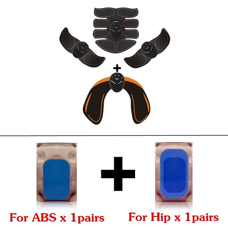 EMS Hip entrenador estimulador muscular eléctrico nalgas Abdominal ABS estimulador Fitness adelgazamiento masajeador con reemplazo de almohadillas de gel