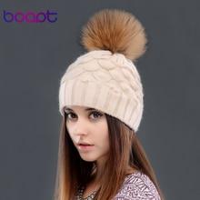BOAPT рыбьей чешуи украшения двухэтажные шерсти шляпы женские зимние вязанные шапки шапочка подлинной мех енота пом пом женский шляпа