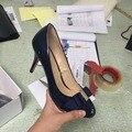 Azul marino Bombas de Punta Redonda Tacones Bajos Zapatos Bowknot de La Vendimia de Las Mujeres más Tamaño Tamaño 15 Tacones Altos Stilettos Zapatos Tacos de Mujer 2016