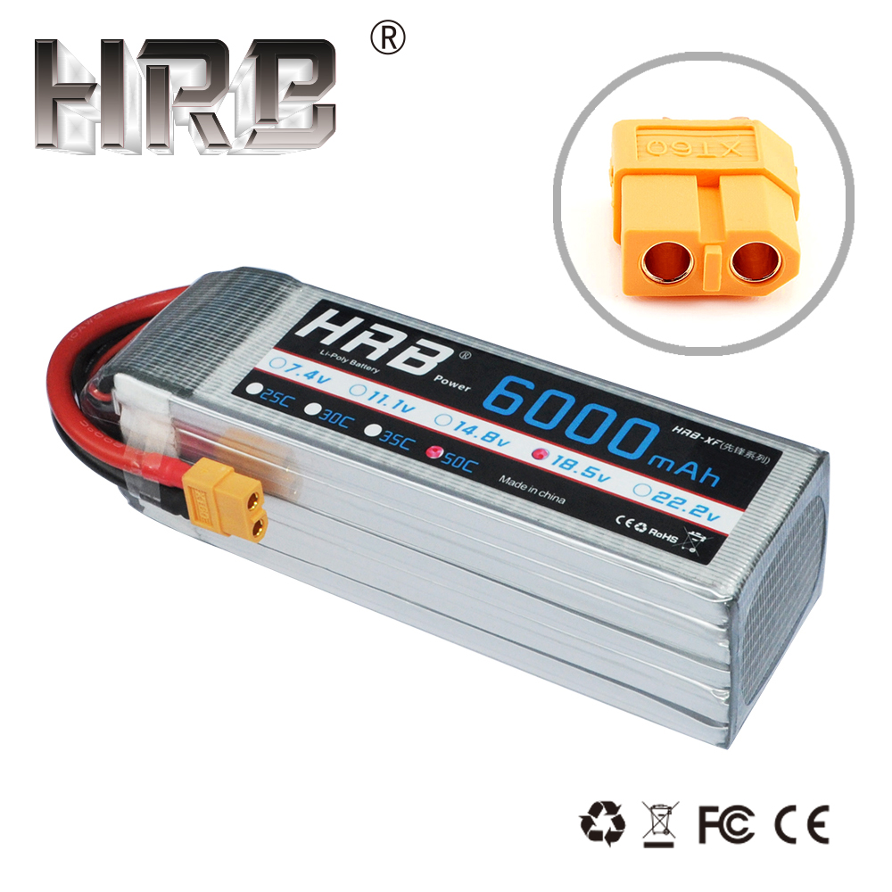 HRB RC Lipo แบตเตอรี่ 5S 18.5V 6000mAh 50C พร้อม XT60 สำหรับเฮลิคอปเตอร์ RC รถ Li polymer แบตเตอรี่ Drone FPV AKKU-ใน ชิ้นส่วนและอุปกรณ์เสริม จาก ของเล่นและงานอดิเรก บน   1