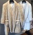 Дизайн моды Натуральный Мех Женский Пальто Натуральный Мех Норки Вязаный Кардиган Женщины Длинные Пальто Верхняя Одежда