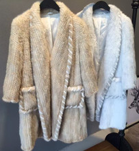 Fashion Design Natural Fur Female Overcoat Real Mink Fur Knitted Cardigan Women Long Coats Outerwear