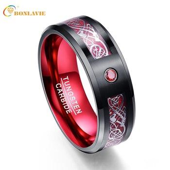 Argent Dragon motif rouge Zircon hommes anneaux 100% carbure de tungstène bandes de mariage Anillos para hombres bague bijoux