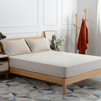 Linen fitted sheet bed moisture absorption antibacterial anti mite (1pc fitted sheet +2pilowcases)180x200cm+30cm