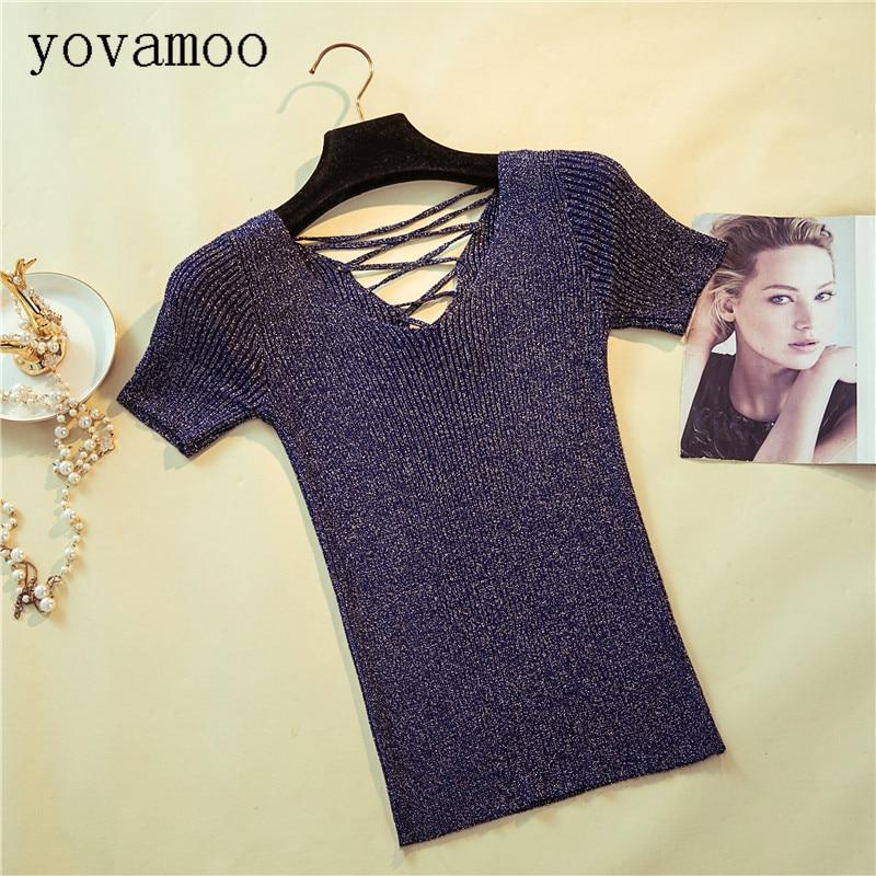 Yovamoo Summer New Short-sleeved Pullover Bandage Bright Silk Short Design Slim V-neck T-shirt Thin Sweater Knitted Tops