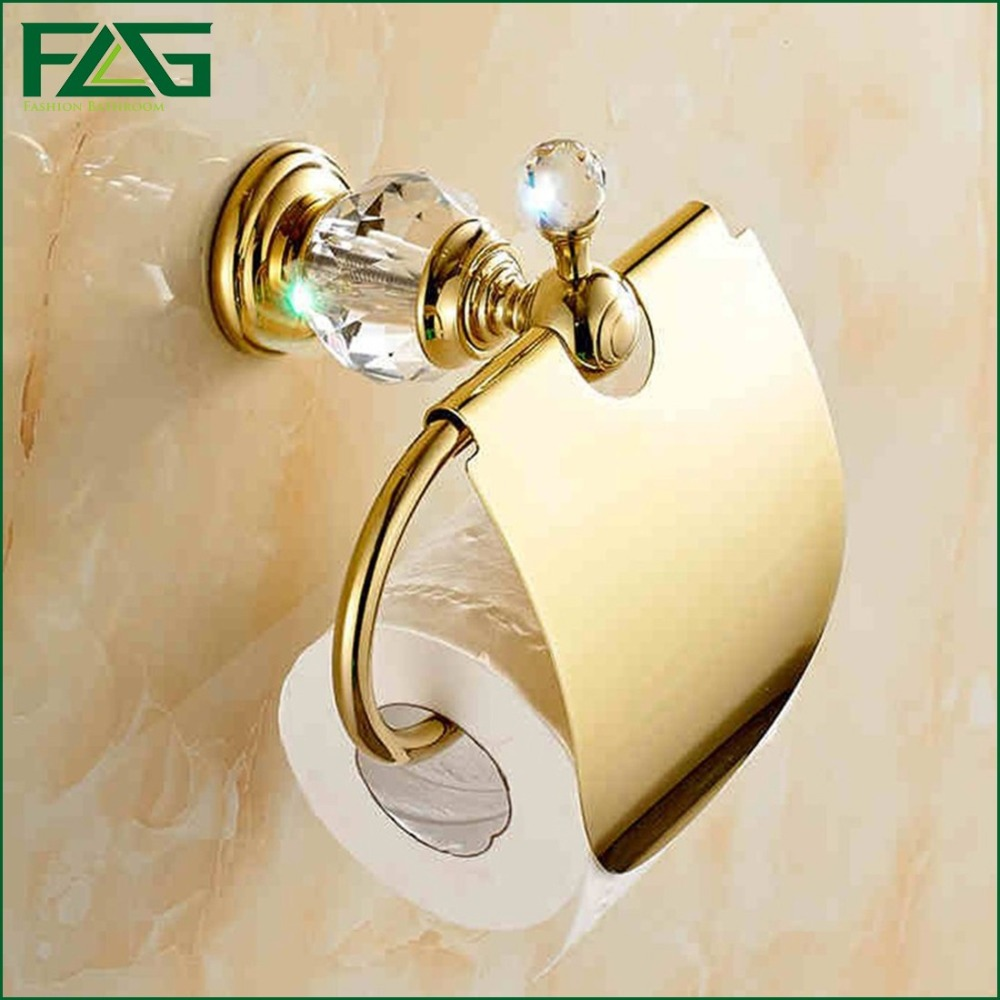 ФОТО FLG Free Shipping Crystal & Brass Gold Paper Box Roll Holder Toilet Gold Paper Holder Tissue Box Bathroom Accessories G405