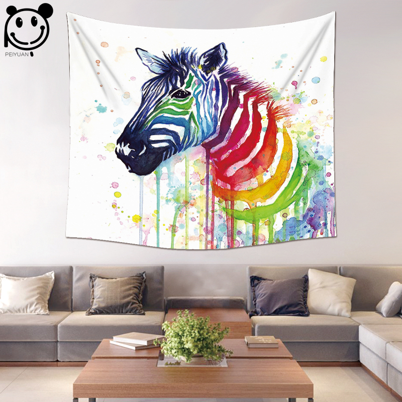 PEIYUAN Wall Hanging Tapestry Polyester Fabric Digital Print Watercolor Zebra Beach Towel Yoga Mat Blanket Table Cloth