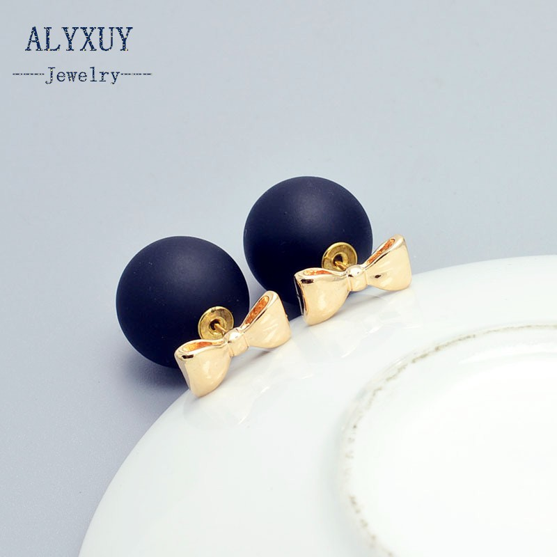 New Fashion Jewelry 16mm Double Side Pearl Bow Stud Earring Mix Color Gift For Women Girl E2719 Volume Large Stud Earrings
