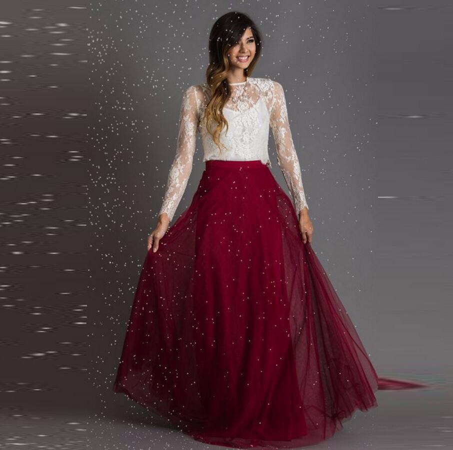 346becc4ec Red Full Tulle Skirt Personalized Natural Waistline A Line Floor Length  Long Skirt Soft Tutu Maxi Skirts Women