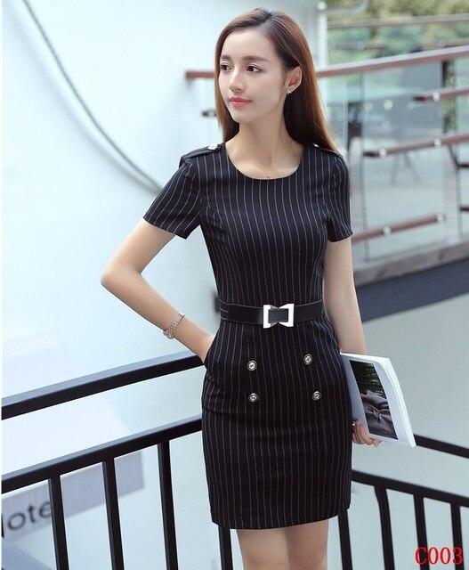 97e94eeb02b3 Fashion Women Work Dresses Black Striped Ladies Summer Party Dress Short  Sleeve Mini Slim Office Uniform