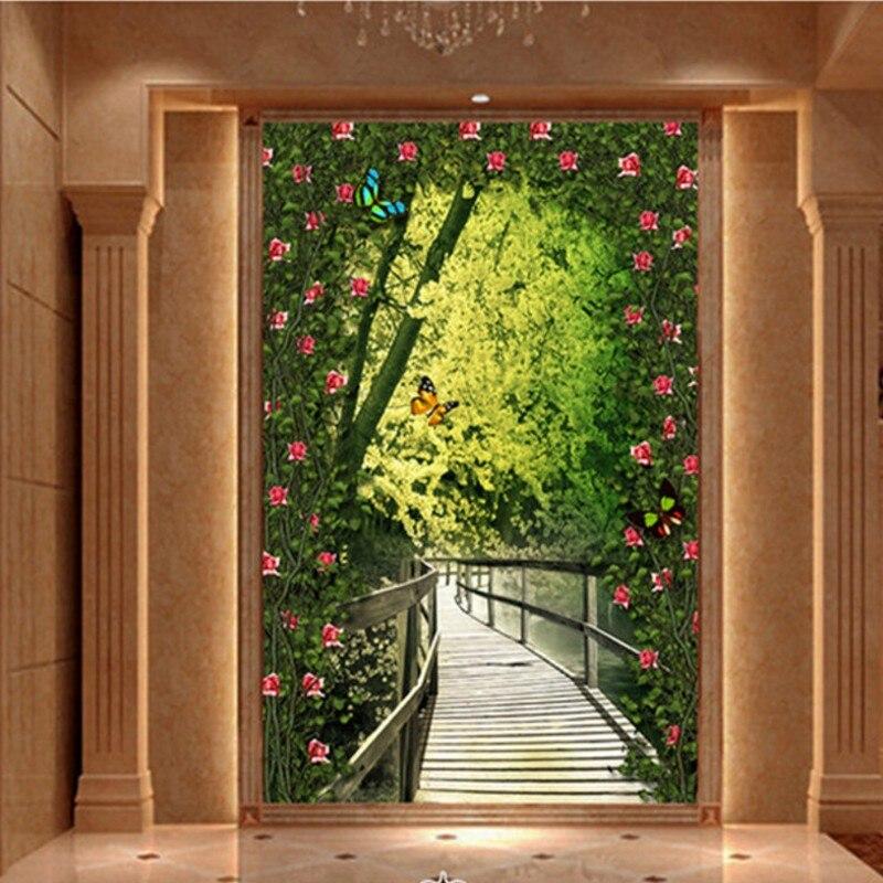 Photo wallpaper Forest wooden bridge entrance 3D custom wallpaper mural hotel corridor background decorative custom wallpaper 3d expand space balcony scenery modern creative art wall mural entrance corridor background photo wallpaper