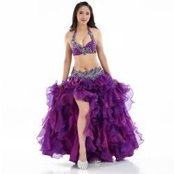 Профессиональный Orient одежда для танца живота комплект бюстгальтер с украшением из бисера B/C Кубок волна юбка Египет Для женщин костюмы