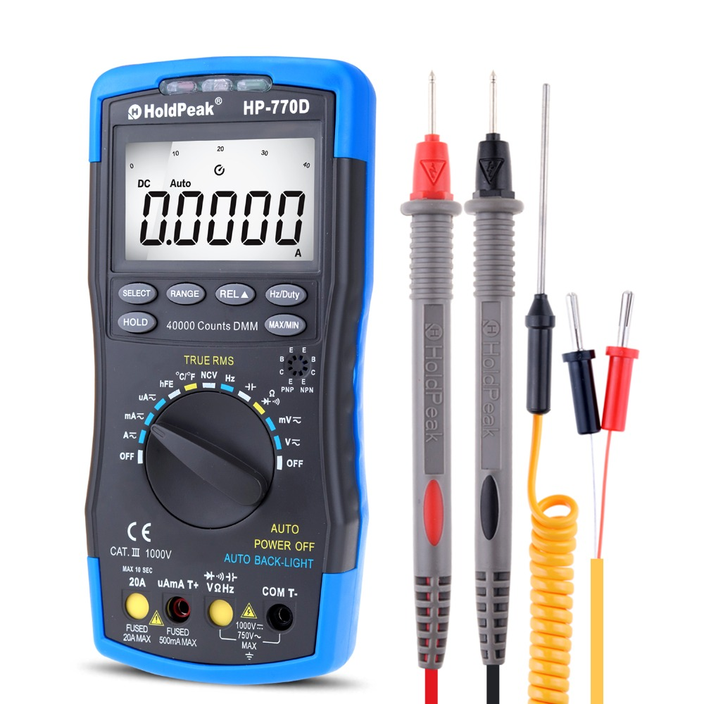 Multimetro HoldPeak HP-770D Auto Range digitale multimeter Echte RMS / frequentie / temperatuur test en draagtas
