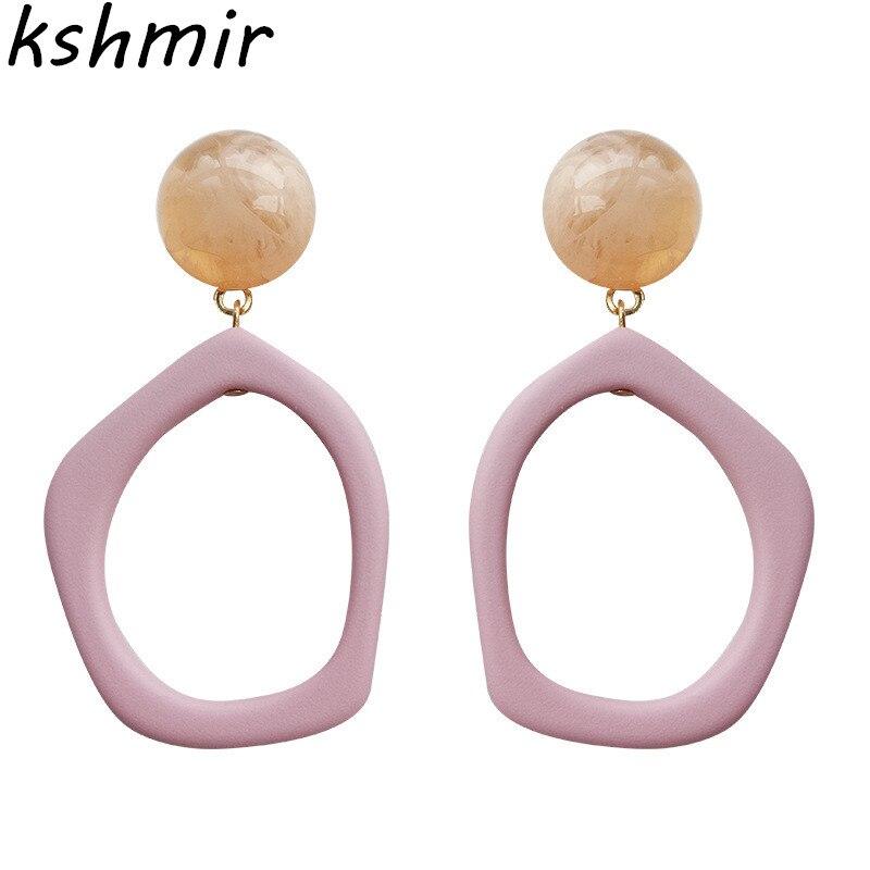 Kshmir Contracted earrings candy color earrings Eardrop geometric fashion trend Ms resin delicate earrings Christmas gift ball in Stud Earrings from Jewelry Accessories