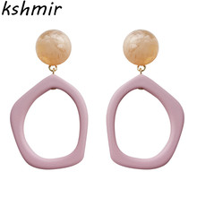 Kshmir Contracted earrings candy color Eardrop geometric fashion trend Ms resin delicate Christmas gift ball