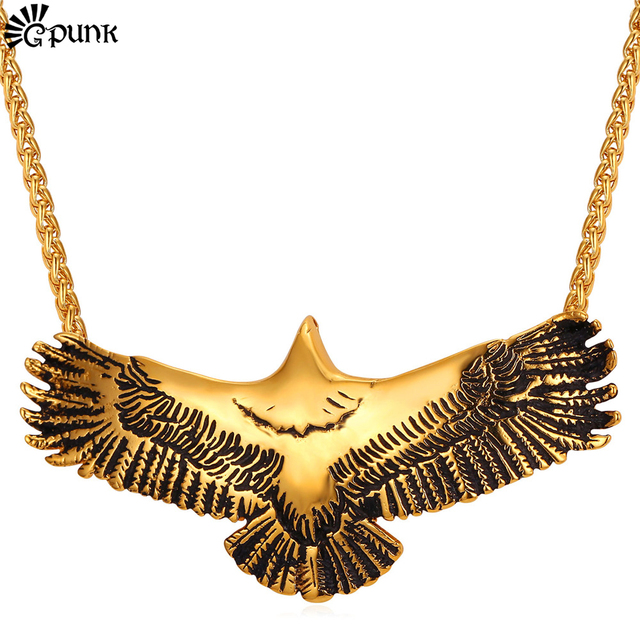 Flying Eagle Men Necklace & Pendant  Animal Gold Pendant With Cuban Chain Punk Jewelry Statement Maxi Necklace Wholesale P2256G