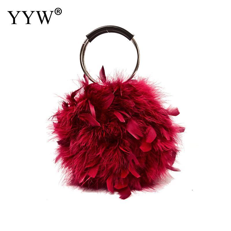 Soft Feather Ring Evening Handbag Women Fashion Shoulder Mini Bag Small Purse And Handbags Pink Red Female Korean Bolso Mujer