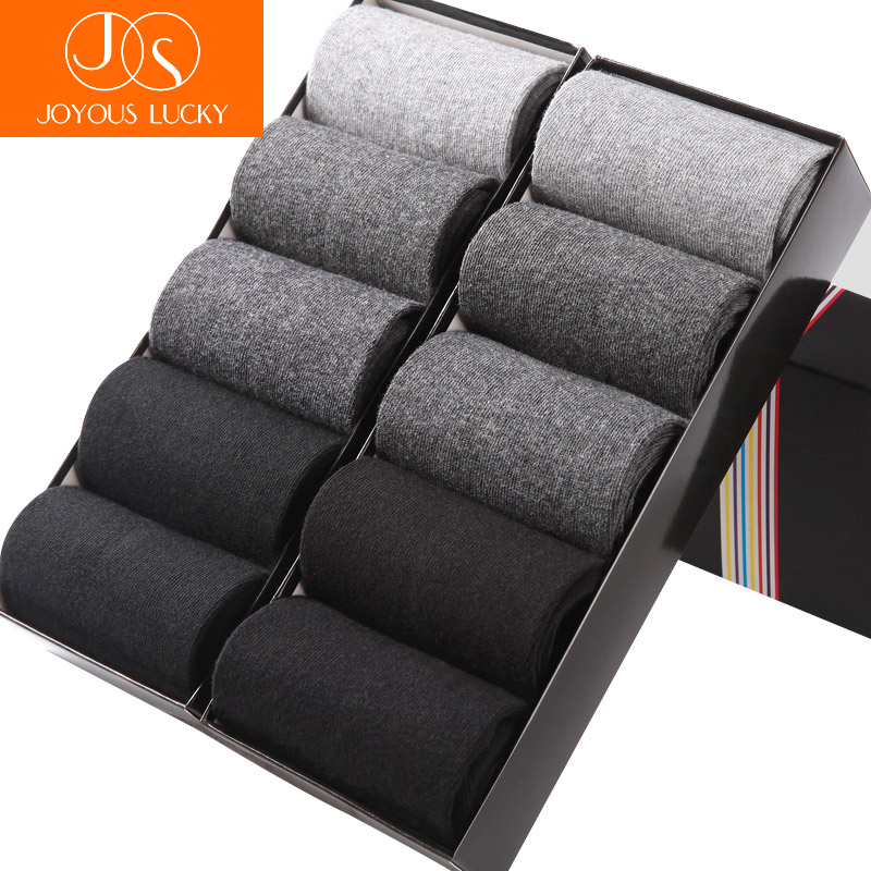 JOYOUS LUCKY 10 Pairs /Lots New Dress Socks Mens Cotton Tube Solid Business Men Socks Meias Four Seasons Solid Socks Men Socks