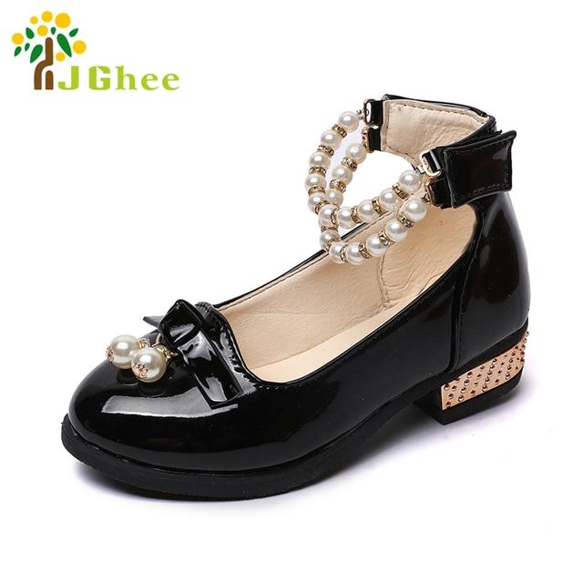 J Ghee Fête Verni Noir En Cuir Filles Chaussures Spectacle De Fête Ghee De 4550d8