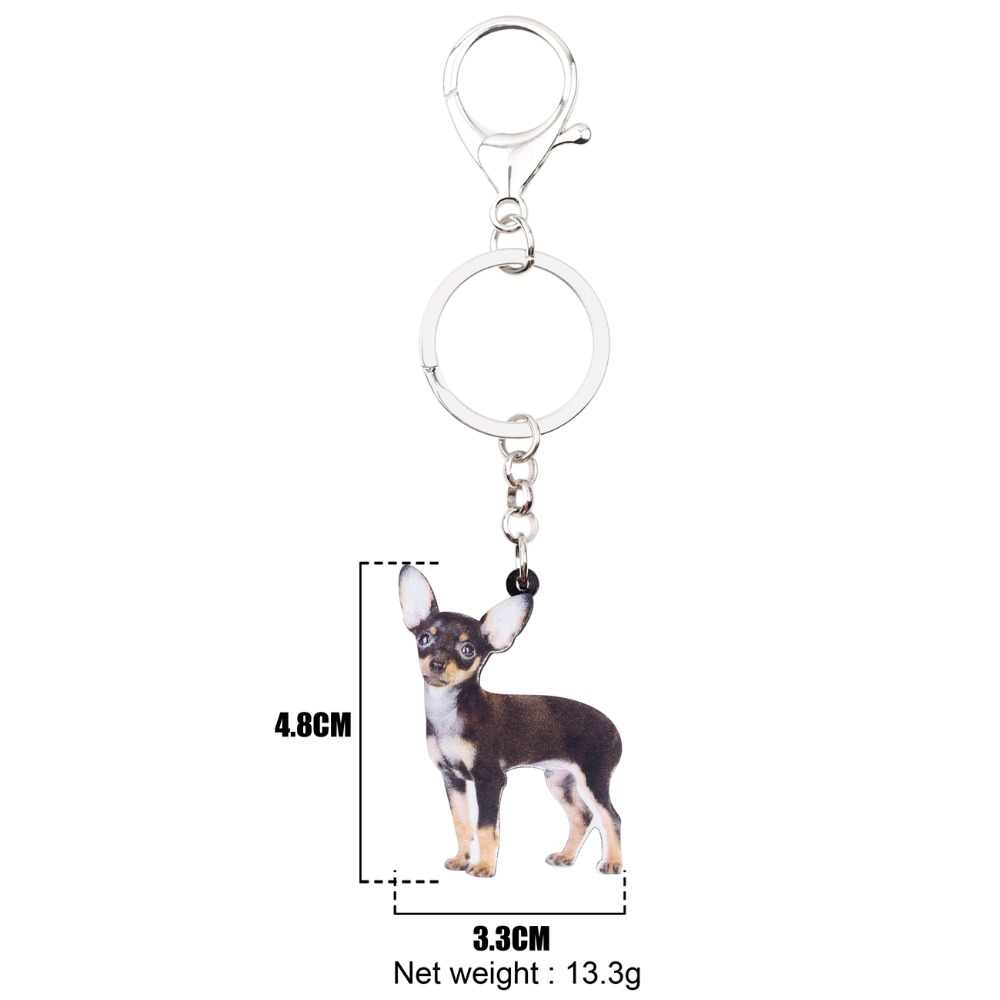 Bonsny Akrilik Lucu Berdiri Chihuahua Anjing Gantungan Kunci Gantungan Kunci Hewan Perhiasan untuk Wanita Gadis Casing Pesona Wanita Aksesori Massal