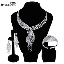 DreamCarnival 1989 New Deluxe Jewellery White Cubic Zirconia AAA Quality Wedding Bride 3 pieces Set for Women Marriage B16621(China)