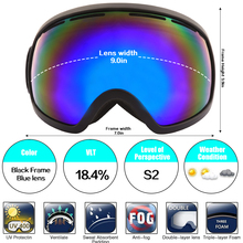 Jiepolly Winter Snow Snowboarding Skating Eyewear Anti-fog UV400 Sunglasses Spherical Wide View Lens Anti-slip Double Layers