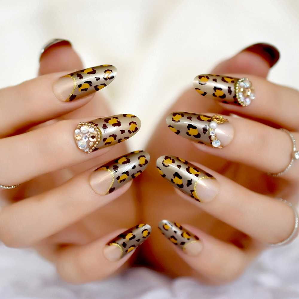 24pcs Leopard Design Nail Art Kit 3d Crystal Long Round Full Cover Fake  Artificial Nails Decoration including Glue Sticker Z884