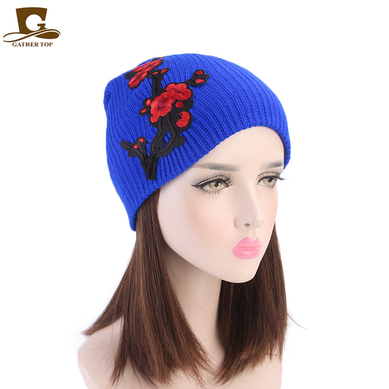 New women flower embroidery hat fashion Warm Winter For Women Knitted Winter Hat Cap Female   Beanies   Caps   Skullies     Beanies