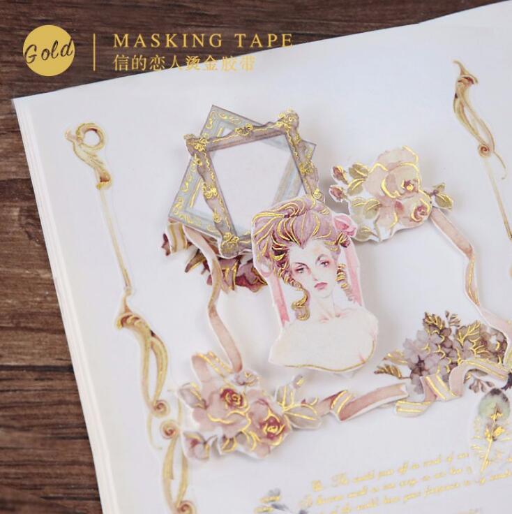 Rococo Era Golding Washi Tape Adhesive Tape DIY Scrapbooking Sticker Label Masking Tape