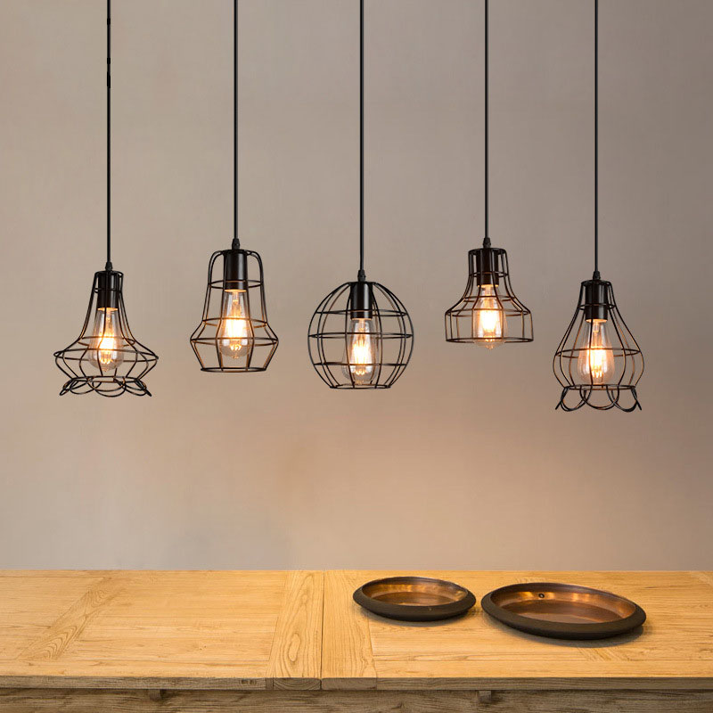 Vintage Industrial Retro Pendant Lamp Edison Light E27 Holder Iron Restaurant Bar Counter Attic Bookstore Cage Lamp