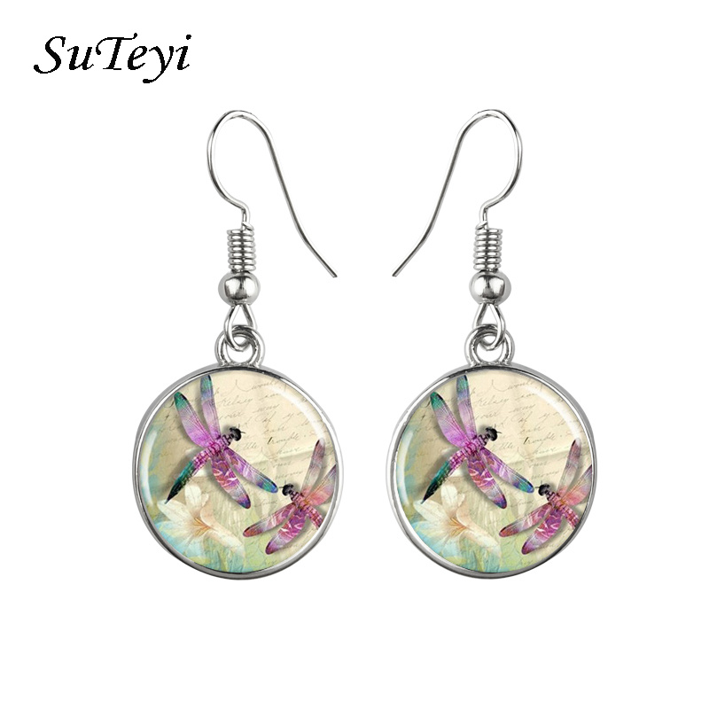 SUTEI Hot Lovely Dragonfly Crystal Cabochon Round Hook Earrings Sale Women Elegant Jewelry Dress Accessory Birthday Gift